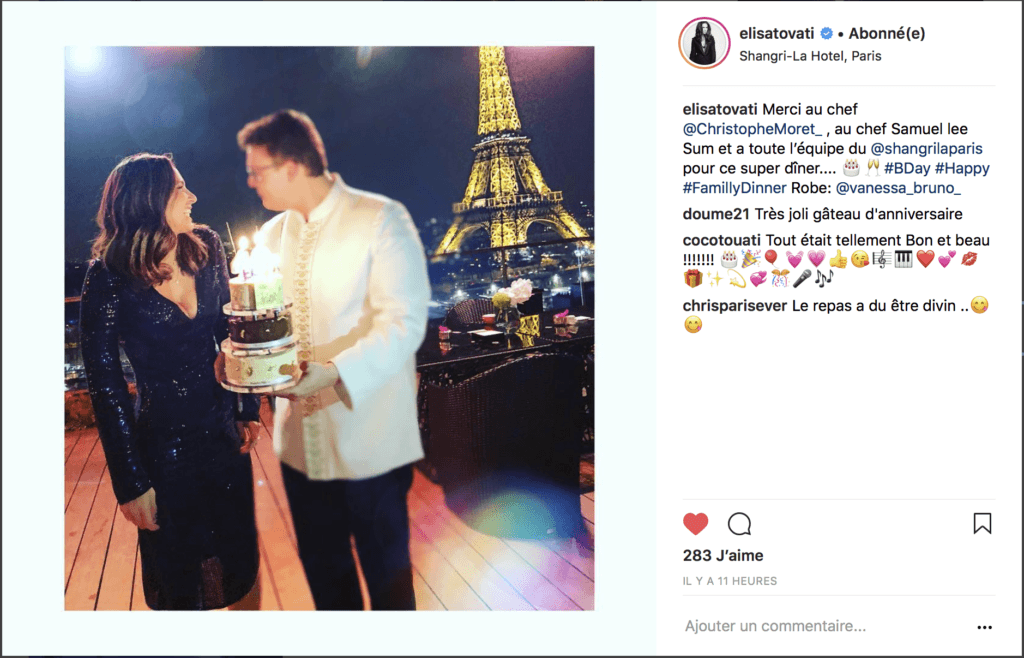 Placement de personnalités Hôtel Shangri-La Paris : Elisa Tovati