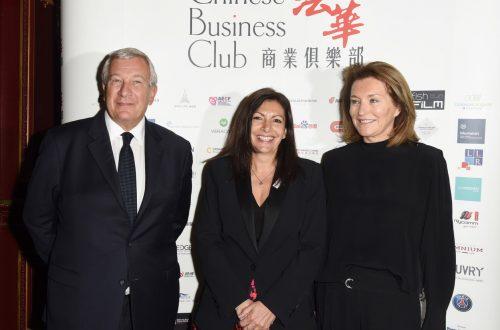 Richard Attias, Anne Hidalgo, Cecilia Attias lors du déjeuner du Chinese Business Club à l'hôtel Inter Continental Opéra.
